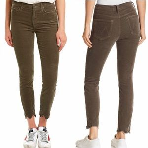 Mother the looker high rise pants ankle chew green